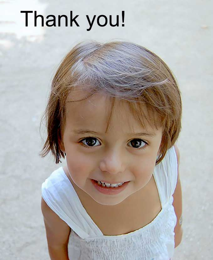 young female child saying thank you